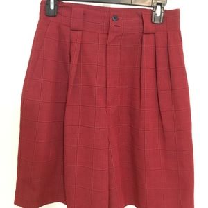 Red and Black Plaid High Waist Walking Shorts